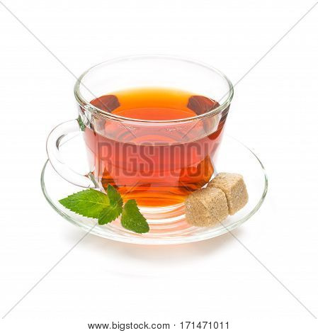 Isolated transparent cup of black tea with mint leaves and sugar cubes on white background