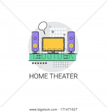 Home Teater Audio System TV Devices Icon Vector Illustration