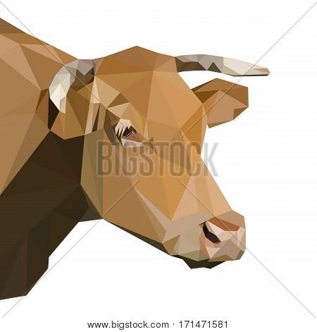 Head of a cow with big horns, polygonal vector illustration