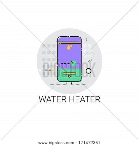 Hot Water Heater Household House Heating Icon Vector Illustration
