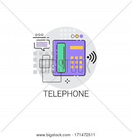 Home Telephone Line House Equipment Icon Vector Illustration