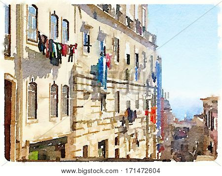 Digital watercolor of washing hanging out to dry on clotheslines on a sunny day in Lisbon Portugal. With space for text.