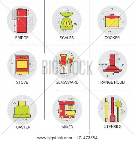 Cooking Utensils Kitchen Equipment Appliances Set Icon Vector Illustration