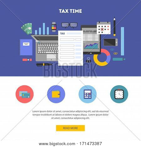 Horizontal banner and icon set, flat design. Payment of tax. State taxes, analysis of financial data, statistics, calculation of tax return. Objects workplace and devices for web, vector illustration
