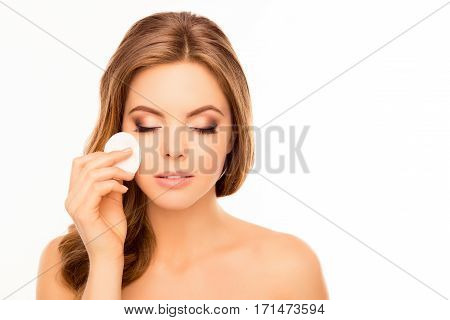 Pretty Woman Washing Off Makeup With Cotton Pad On White Background