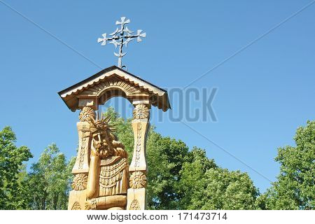 a wooden sculpture of Jesus Christ, the land of Lithuania