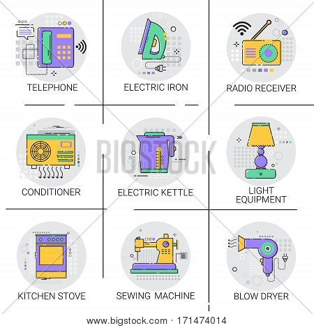 Conditioner Household House Heating Icon Kitchen Devices Housekeeping Collection Vector Illustration