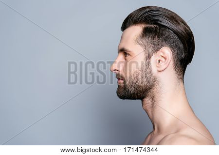 Side View Of Handsome Young Bearded Man After Bath