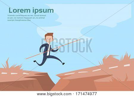 Business Man Jump Dangerous Mountain Gap Risk Concept Flat Vector Illustration