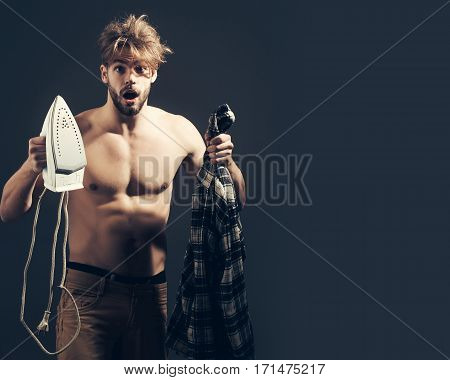 Naked Man With Iron