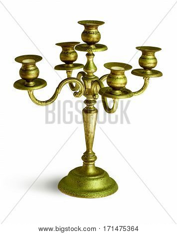 Antique candlestick isolated on a white background