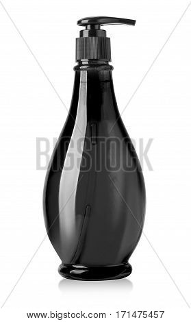 cosmetic black plastic bottle isolated on white background with clipping path