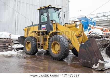 One Loader excavator construction machinery equipment in an industrial zone