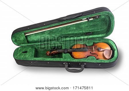 violin in the case of green isolated on white background