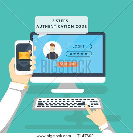 Two steps authentication on computer. Login and password. Verification with sms on smartphone.