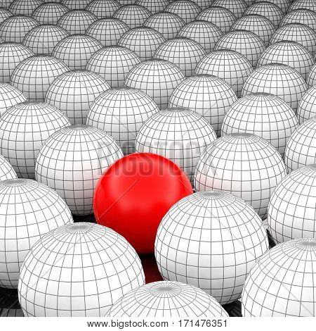 Concept or conceptual 3D illustration wireframe black and white group of spheres or balls with a special different one standing out of crowd background