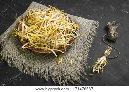 Bean sprouts in the wooden plate on sackcloth. Mungbean Sprouts in bundle tied vervevkoy. Dark black concrete background.