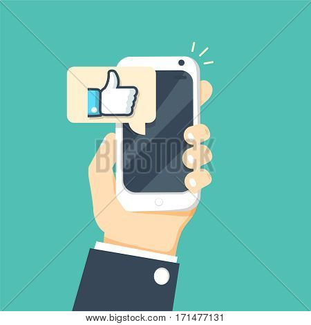 Hand holding smartphone with like message on screen, like button. Thumbs up icon. Social network, social media usage on mobile device. Concept for websites, web banner. Flat design vector illustration