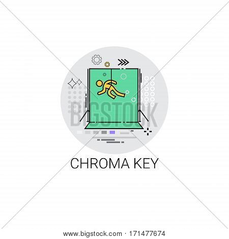 Chroma Key Green Background Film Production Technology Icon Vector Illustration