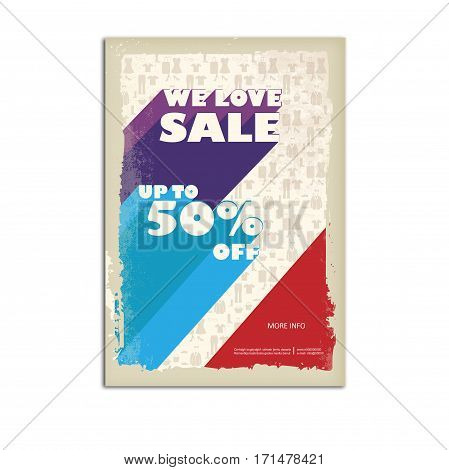 Vintage sale poster, flyer with ribbon banner