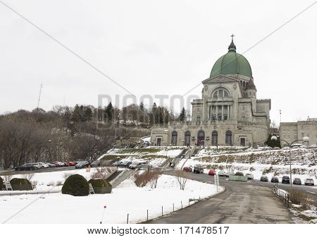 Saint Joseph's Oratory of Mount Royal in Montreal, Quebec Canada. This Roman Catholic basilica overlooking Montreal is the third-largest church building in the world.