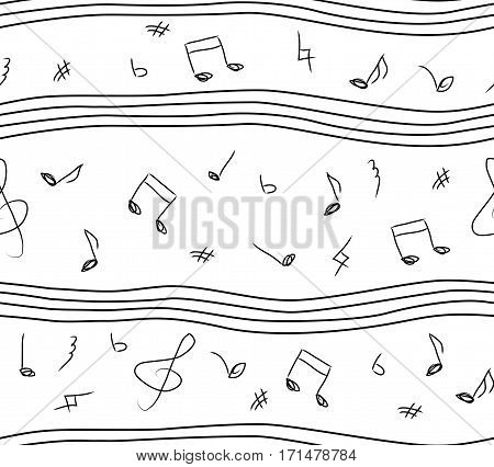 Musical or classic music notes seamless beautiful simple black and white hand drawn linear pattern. Vector illustration design for wallpaper modern creative wrapping paper