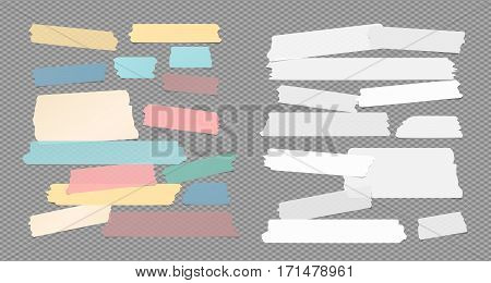 Colorful and white ripped sticky, adhesive masking tape, note paper strips stuck on squared gray background.
