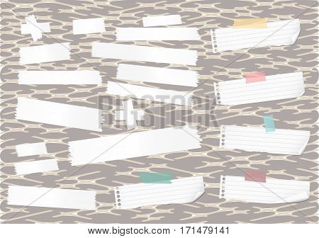 Sticky, adhesive masking tape, ripped note paper strips stuck on abstract pattern.
