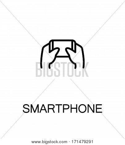 Hand with smarphone, tablet icon. Single high quality outline symbol for web design or mobile app. Thin line sign for design logo. Black outline pictogram on white background