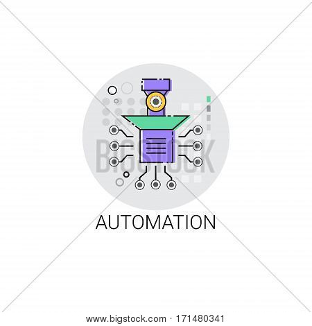 Smart Robot Machinery Industrial Automation Industry Production Icon Vector Illustration