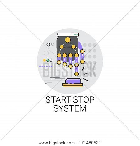 Start Stop System Machinery Industrial Automation Industry Production Icon Vector Illustration