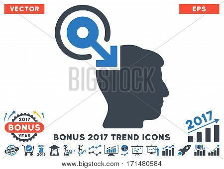 Smooth Blue Brain Interface Plug-In icon with bonus 2017 trend icon set. Vector illustration style is flat iconic bicolor symbols white background.