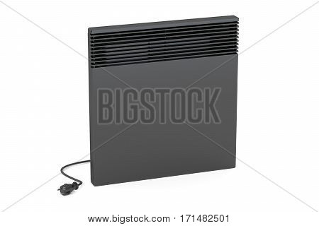 Black convection heater 3D rendering isolated on white background