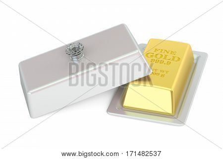 Financial and banking concept. Golden bar on a platter with open lid 3D rendering isolated on white background