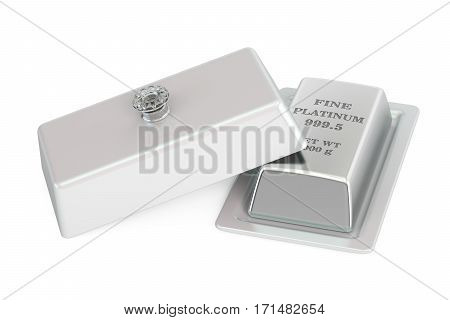 Platinum ingot on a platter with open lid 3D rendering isolated on white background