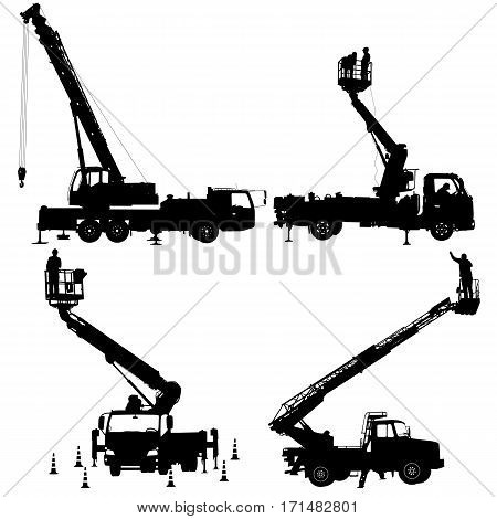 Set electrician, making repairs at a power pole. Vector illustration.
