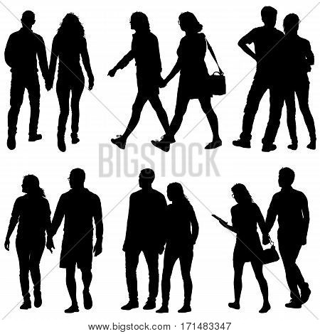 Set Couples man and woman silhouettes on a white background. Vector illustration.