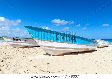 Blue White Pleasure Boat, Macao Beach