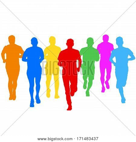 Set of silhouettes Runners on sprint men vector illustration.