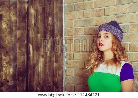 Pretty Girl In Grey Beanie Hat