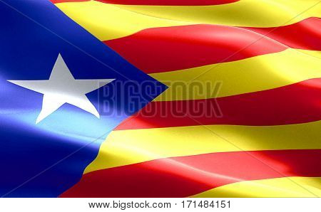Flag Of Catalonia Yellow And Red Strip With Star Waving Texture Fabric Background, National Catalan