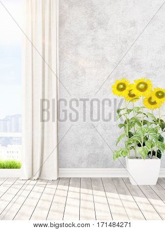 Beautiful modern living room interior with sunflowers. 3D rendering