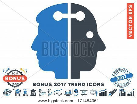 Smooth Blue Dual Head Connection pictograph with bonus 2017 year trend design elements. Vector illustration style is flat iconic bicolor symbols white background.