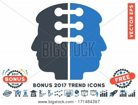 Smooth Blue Dual Head Interface icon with bonus 2017 trend pictograms. Vector illustration style is flat iconic bicolor symbols white background.