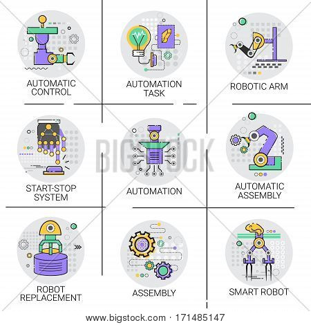 Automatic Robot Machinery Industrial Automation Industry Production Icon Set Vector Illustration