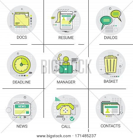 Manager Business Team Resume icon Set, Deadline, Social Network Communication Call Contacts Docs Collection Vector Illustration