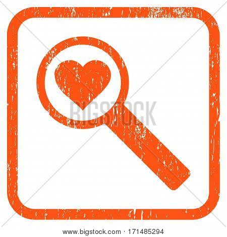Find Love rubber watermark. Vector icon symbol inside rounded rectangular frame with grunge design and scratched texture. Stamp seal illustration. Unclean orange ink sign on a white background.