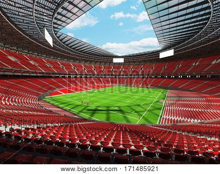 3D Render Of A Round Rugby Stadium With  Red Seats And Vip Boxes