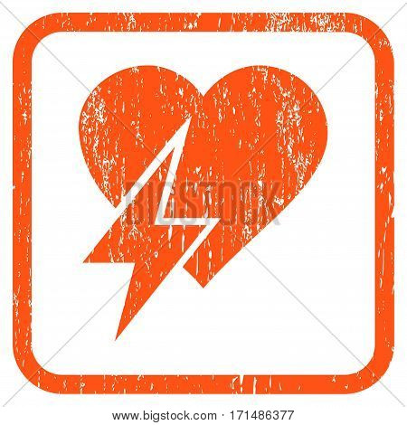 Heart Shock rubber watermark. Vector icon symbol inside rounded rectangular frame with grunge design and dirty texture. Stamp seal illustration. Unclean orange ink sticker on a white background.