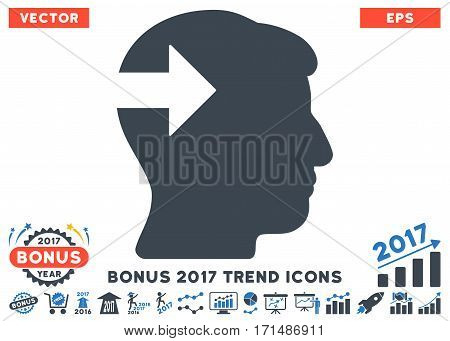 Smooth Blue Head Plug-In Arrow pictogram with bonus 2017 trend pictures. Vector illustration style is flat iconic bicolor symbols white background.